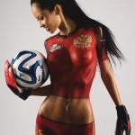 Грудастая брюнеточка в форме сборной России по футболу