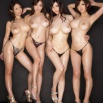 Четыре горячих японских телочек с дойками